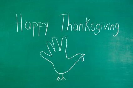 Thaksgiving chalk drawing. Turkey handprint drawing with Happy Thanksgiving on a chalkboard.